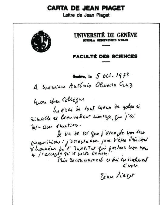 Carta de Jean Piaget ao seu Instituto foi há 40 anos